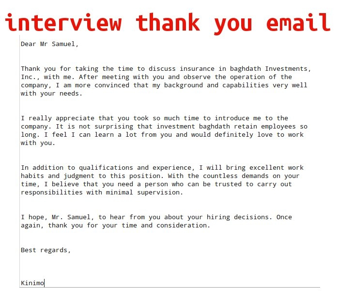 thank you for interview email