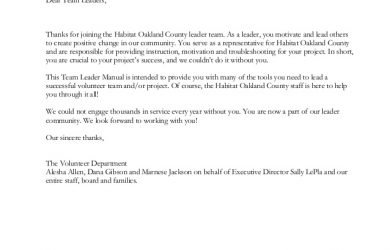 thank you for your donation letter habitat team leader manual