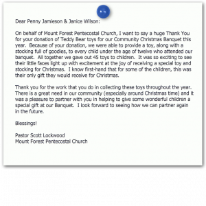 thank you letter after receiving donation mount forest pentecostal church