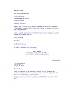 thank you letter business types of business letters