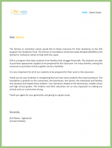 thank you letter for donation sample thank you letter for donation to school