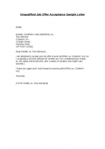 thank you letter for job offer accepted unqualified job offer acceptance sample letter