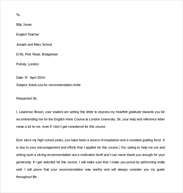 thank you letter for recommendation