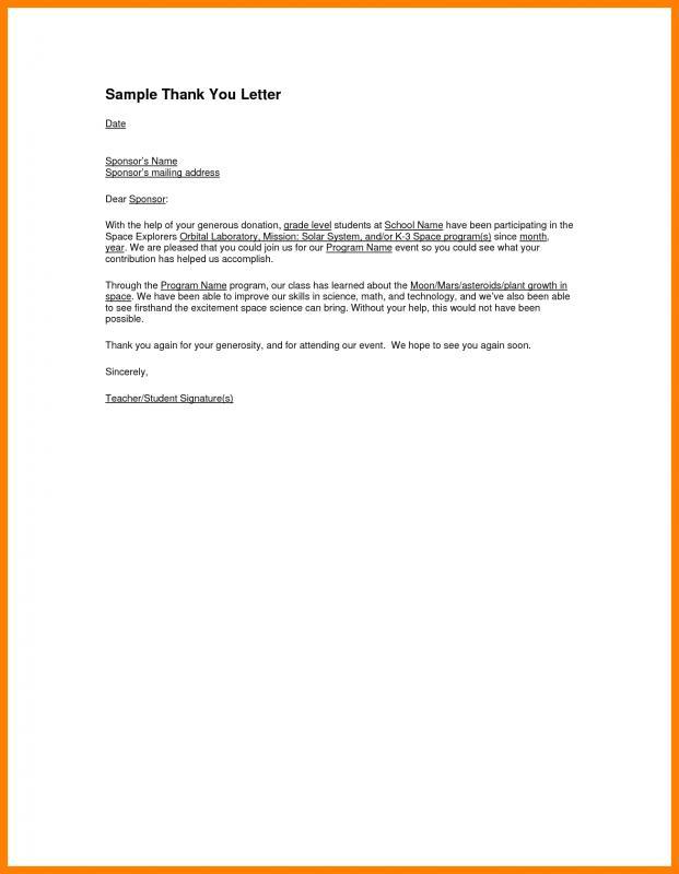thank you letter for sponsorship