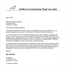 thank you letter to scholarship donor sample scholarship thank you letter format