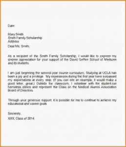 thank you letter to scholarship donor sample thank you letter for scholarship medical school scholarship thank you letter