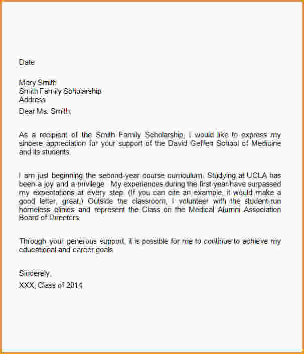 thank you letter to scholarship donor