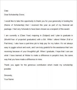 thank you letter to scholarship donor scholarship thank you letter examples