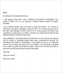 thank you letter to scholarship donor scholarship thank you letter