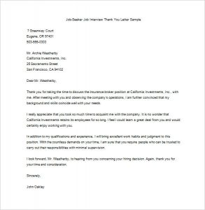 thank you letters after an interview editable job seeker after interview thank you letter sample