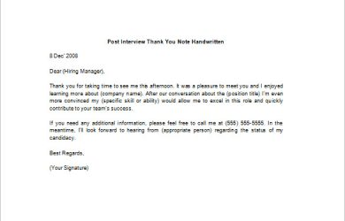 thank you note for interview post interview thank you note handwritten