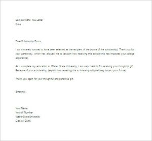 thank you note for scholarship college scholarship thank you letter in word format