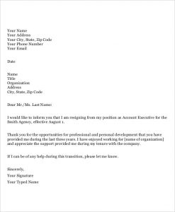 thank you note format resignation letter to employer template