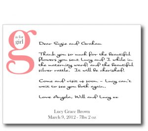 thank you notes for gifts g is for girl flat card