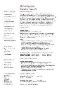 theatre resume example pic paediatric nurse cv example