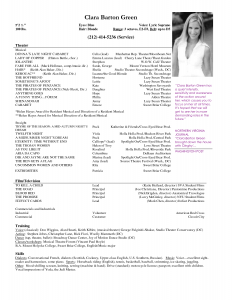 theatre resume template free acting resume samples and musical theater template sample
