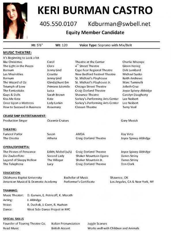 Theatre Resume Template | Template Business