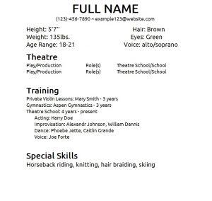 theatre resume template theater resume