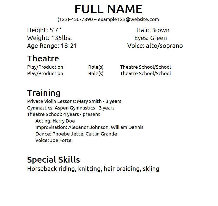 theatre resume template