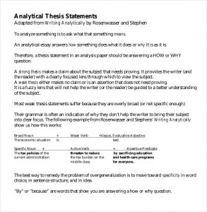 thesis statement template analytical thesis statement template