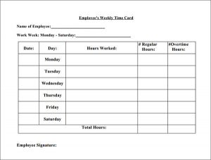 time card template employee time card template