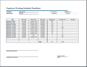 timecard template excel employee working schedule timesheet