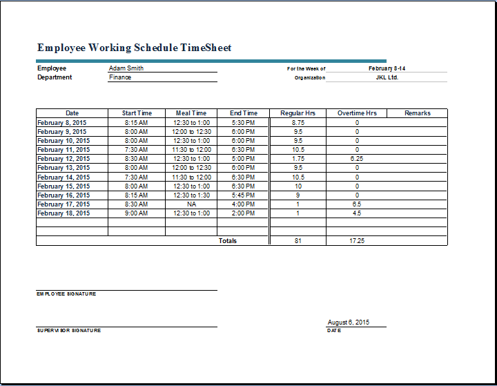timecard template excel