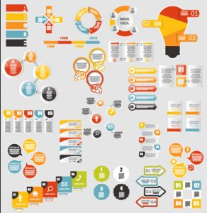 timeline for ppt infographic elements material vector set