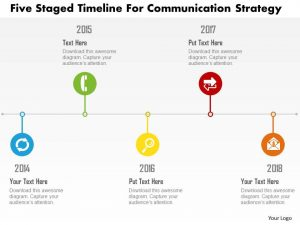 timeline powerpoint template five staged timeline for communication strategy flat powerpoint design slide