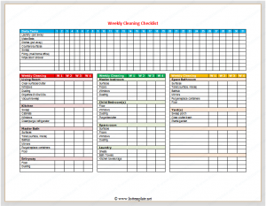 timeline templates for kids weekly cleaning checklist