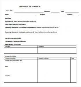 toddler lesson plan teacher blank lesson plan template