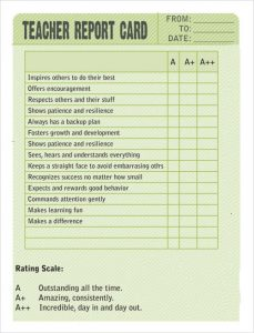 trading card templates sample report card