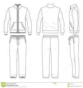 training outline template gym suit blank men s track front back side views vector illustration white