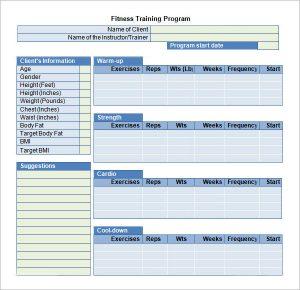training plan template fitness training program template