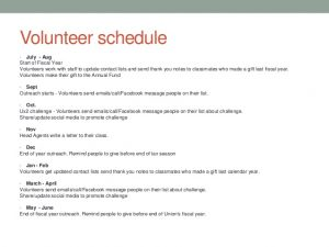 training schedule template annual fund volunteer training