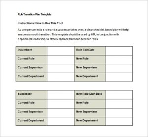 transition plan template role transition plan free word template download