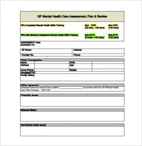 treatment plan template gp mental health treatment plan pdf free download