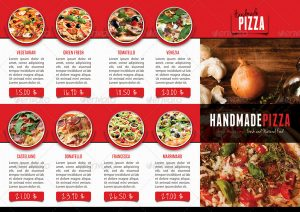 tri fold menu template food pizza brochure