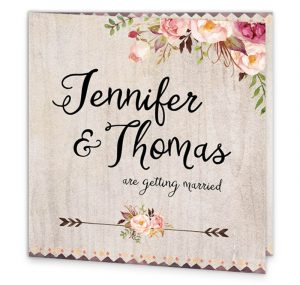 tri fold wedding invitations flowering affection folding invite front