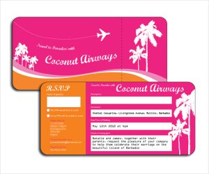 tri fold wedding invitations plane ticket wedding invitation template