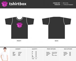tshirt order form template screen shot at