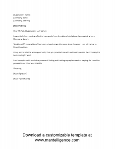 two week notice letter relocation two weeks notice letter template comp