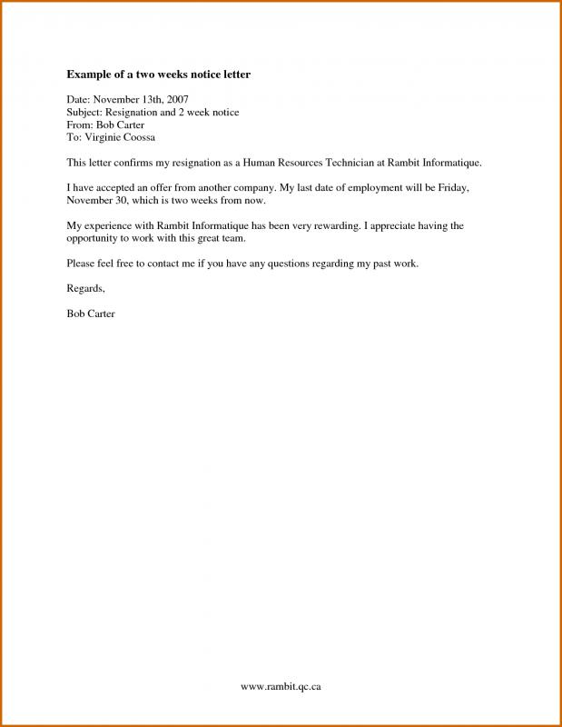 two week notice letter template