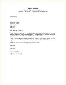 two week notice letters weeks notice sample letters