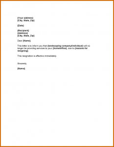 two week notice letters immediate resignation letter sample landscaper resignation letter