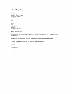 two week notice letters template short version formal notification good letters of resignation from department thankful opportunities