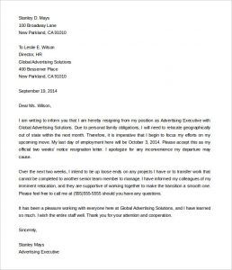 two weeks notice letter sample two weeks notice resignation letter from advertising executive sample
