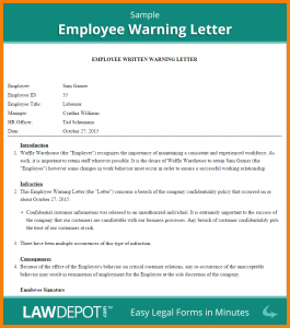 two weeks notice samples warning letter to employee template
