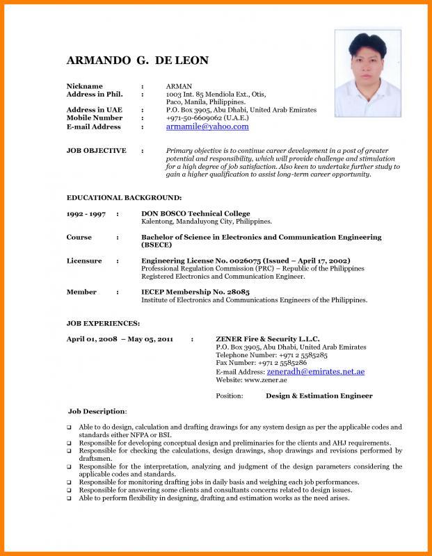 undergraduate student cv template