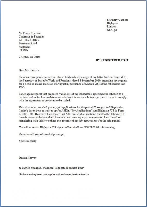 unemployment appeal letter